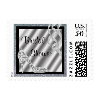 Silver Glittery Stiletto & Streamers Bridal Shower Postage