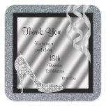 Silver Glittery Stiletto & Streamers  Square Sticker