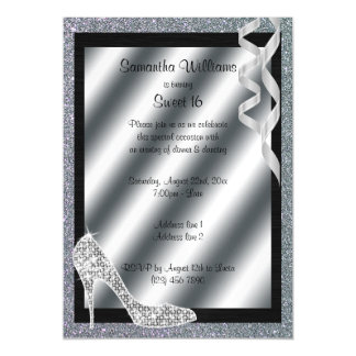 Silver Glittery Stiletto & Streamers Sweet 16 Magnetic Card