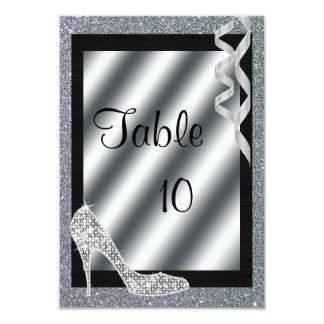 Silver Glittery Stiletto & Streamers Table 10 Card