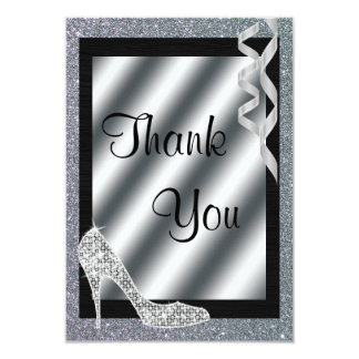 Silver Glittery Stiletto & Streamers Thank You Card
