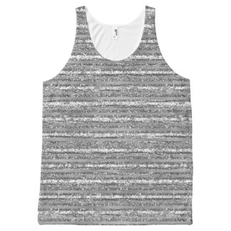 Silver Glittery Stripes All-Over-Print Tank Top