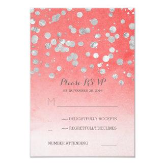 silver glitz pink coral wedding RSVP cards