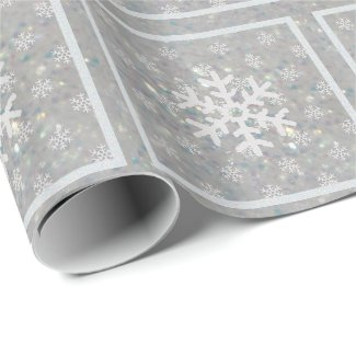 Silver Glitz : Snowflakes Wrapping Paper