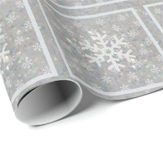 Silver Glitz : Snowflakes Wrapping Paper