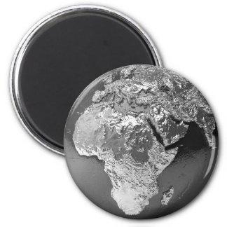 Silver Globe - Africa, 3d Render 2 Inch Round Magnet