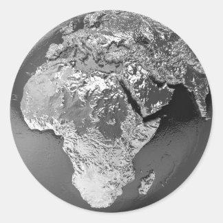Silver Globe - Africa, 3d Render Classic Round Sticker