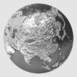 Silver Globe - Asia, 3d Render Classic Round Sticker