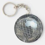 silver globe basic round button keychain