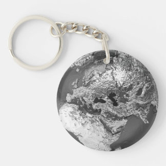 Silver Globe - Europe, 3d Render Double-Sided Round Acrylic Keychain