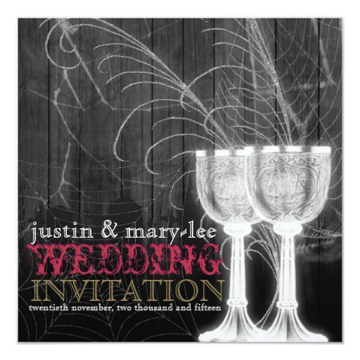 Silver Goblets Spider Web Gothic Vintage Wedding Card