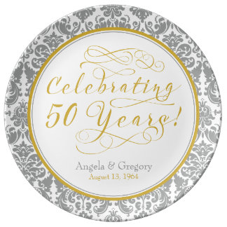 Silver Gold 50th Golden Anniversary Personalized Porcelain Plate