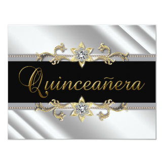 Silver Gold Black Quinceanera Card
