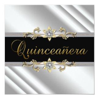 Silver Gold Black Quinceanera 5.25x5.25 Square Paper Invitation Card