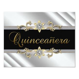 Silver Gold Black Quinceanera 4.25x5.5 Paper Invitation Card