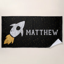 Silver Gold Black Rocket Ship Personalized Beach Towel