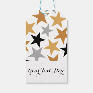 Silver Gold Black Stars Personalized Name Gift Tags