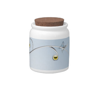 Silver/Gold Branches with Butterflies Blue Candy J Candy Jars