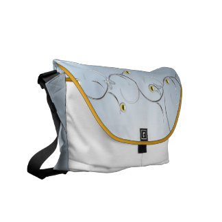 Silver/Gold Branches with Butterflies Blue Ricksha Courier Bag