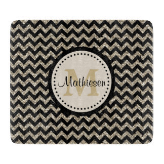 Silver Gold Chevron Faux Glitter Cutting Board