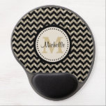 "Silver Gold Chevron Glitter Gel Mouse Pad<br><div class=""desc"">This attractive personalized gel mouse pad for her has black chevrons contrasted with silver gold faux glitter chevrons. At the center is her monogram in gold on a lighter circle banner lined in black. Add her name imposed in black over the monogram, and you have a unique, elegant, and attractive...</div>"
