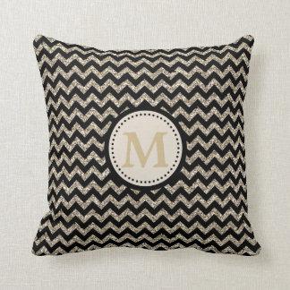 Silver Gold Chevron Glitter Monogram Pillow