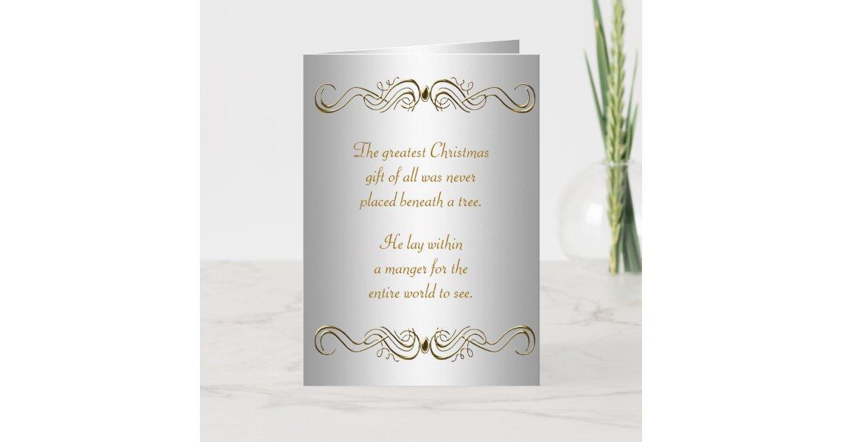 Silver Gold Christian Christmas Cards | Zazzle.com