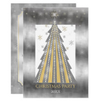 Silver Gold Christmas Tree | Snowflakes Party Invitation
