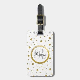 Silver/Gold Confetti Monogram Luggage Tag
