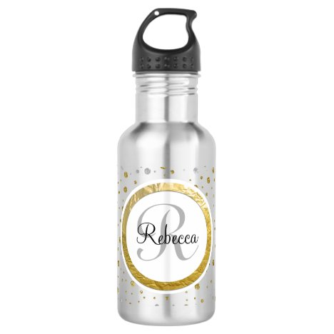 Silver/Gold Confetti Monogram Water Bottle