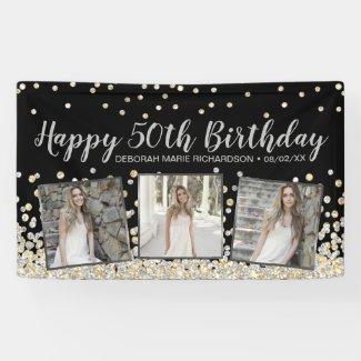 Silver Gold Confetti Photo Collage 50th Birthday Banner