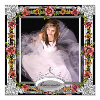 Silver Gold Coral Pink Flowers Photo Quinceanera Card