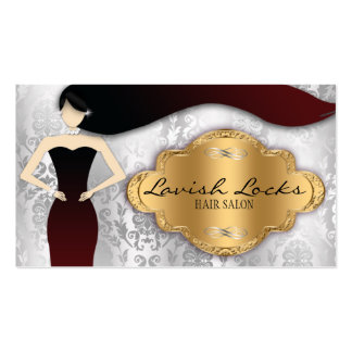 Silver Gold Damask Hair Stylist Salon Business Card Templates