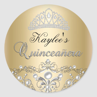Silver & Gold Damask Pearl Quinceanera Sticker
