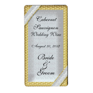 Silver Gold & Diamonds Wedding Wine Label Labels