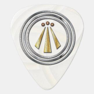 Silver & Gold Druid Symbol 2B - Guitar Pic Guitar Pick