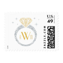 Silver & Gold Engagement Ring Postage Stamp