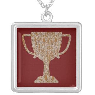 Silver Gold Engraved Award Reward Achiever Square Pendant Necklace