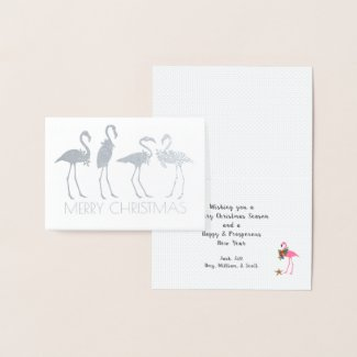 Silver Gold Flamingos Folded Personalized Foil Card