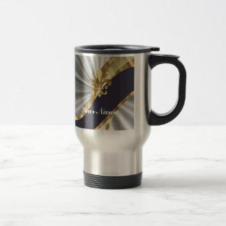 Silver & gold Fleur dy Lys 15 Oz Stainless Steel Travel Mug