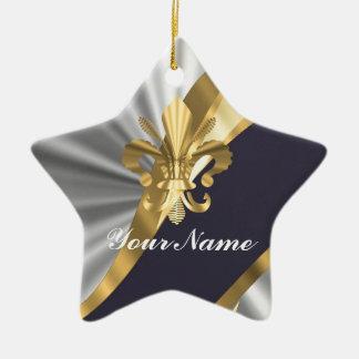 Silver gold Fleur dy Lys Christmas Ornament