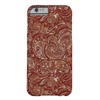 Silver & Gold Floral Paisley Burgundy Background Barely There iPhone 6 Case