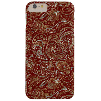 Silver & Gold Floral Paisley Burgundy Background Barely There iPhone 6 Plus Case