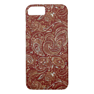 Silver & Gold Floral Paisley Burgundy Background iPhone 7 Case