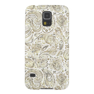 Silver & Gold Floral Paisley Over White Background Galaxy S5 Cover