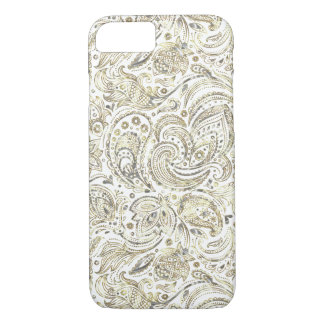 Silver & Gold Floral Paisley Over White Background iPhone 7 Case