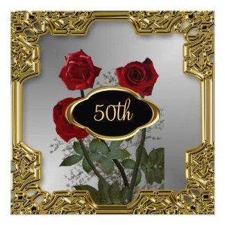 Silver Gold Frame Flowers Birthday Invitation 2 Custom Announcements