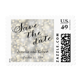 Silver Gold Glitter Save the Date Postage Stamp