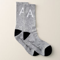 Silver Gold Glitter & Sparkle Monogram Socks
