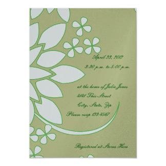 Silver, Gold, Green Floral Bridal Shower Card